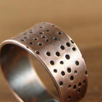 Dots Ring. Adjustable Wide Ring in Copper. Ring Size 6. Unisex. Gift under 50