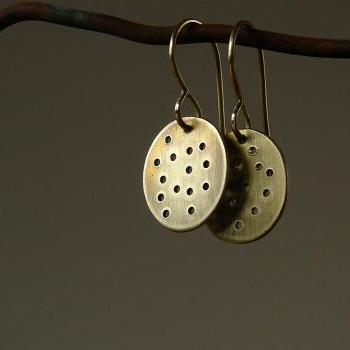 Brass Drop Earrings. Gold Tone Brass. Dots Oval. Oxidized Brushed Patina.
